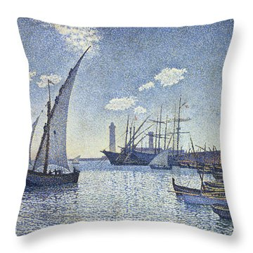 Porte De Cette Les Tartanes Throw Pillow by Theo van Rysselberghe