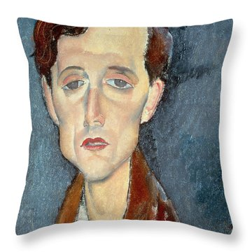 Portrait Of Franz Hellens Throw Pillow by Modigliani