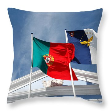 Portugal And Azores Flags Throw Pillow by Gaspar Avila