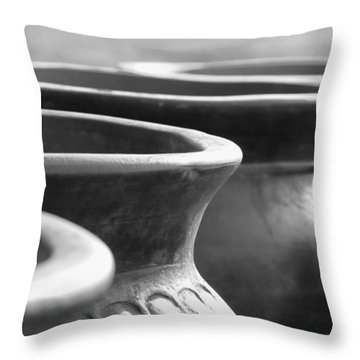Pots In Black And White Throw Pillow by Kathy Clark