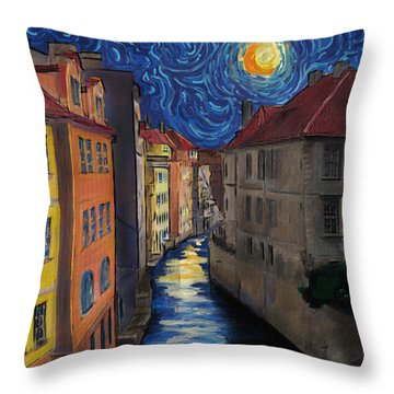 Prague By Moonlight Throw Pillow by Jo-Anne Gazo-McKim