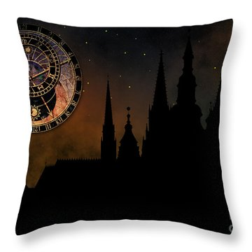 Prague Casle - Cathedral Of St Vitus - Monuments Of Mysterious C Throw Pillow by Michal Boubin