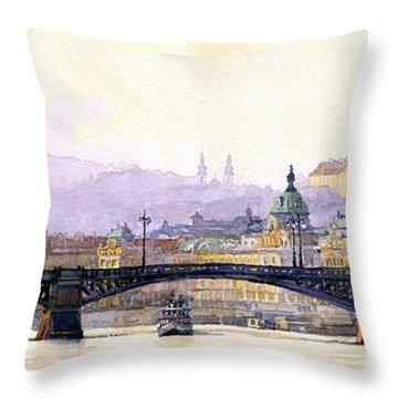Prague Panorama Cechuv Bridge Variant Throw Pillow by Yuriy  Shevchuk