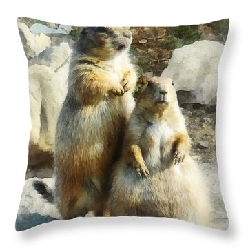 Prairie Dog Formal Portrait Throw Pillow by Susan Savad