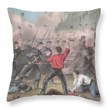 Pratt Street Riot, 1861 Throw Pillow by Photo Researchers