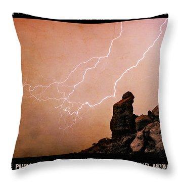 Praying Monk Camelback Mountain Lightning Monsoon Storm Image Tx Throw Pillow by James BO  Insogna