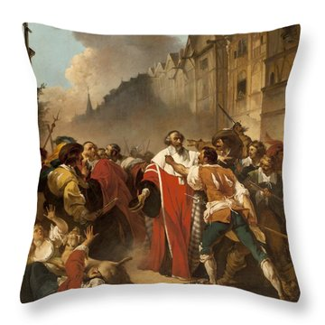 President Mole Manhandled By Insurgents Throw Pillow by Francois Andre Vincent