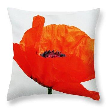 Pretty Poppy Throw Pillow by Ramona Johnston