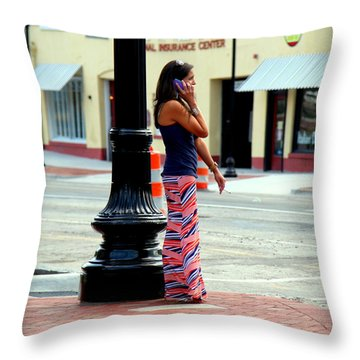 Pretty Woman Throw Pillow by Karen Wiles
