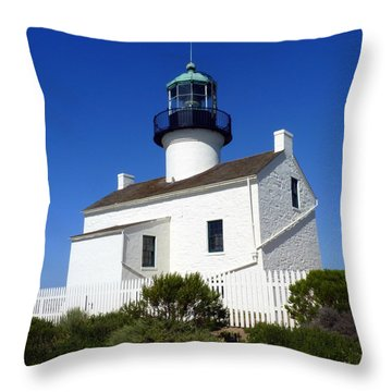 Pt. Loma Lighthouse Throw Pillow by Carla Parris