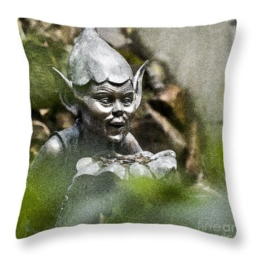 Puck In The Garden Throw Pillow by Heiko Koehrer-Wagner