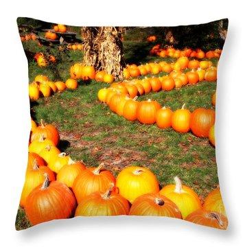 Pumpkin Patch Path Throw Pillow by Carol Groenen