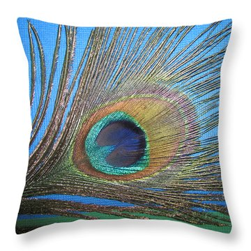 Purdy As A Peacock Throw Pillow by Kathy Clark