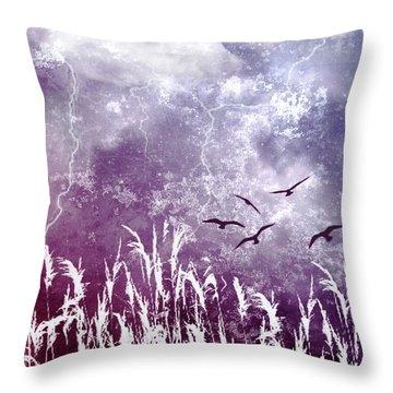 Purple Skies Throw Pillow by Ellen Heaverlo