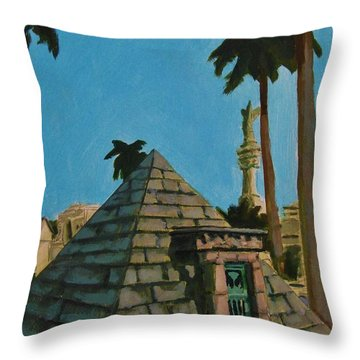 Pyramid Tomb In Cemetary Throw Pillow by John Malone