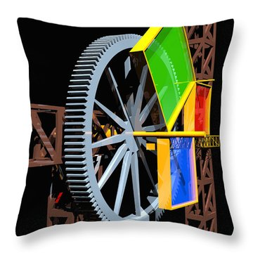 Pythagorean Machine Portrait 1 Throw Pillow by Russell Kightley