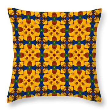 Quadrichrome 13 Symmetry Throw Pillow by Hakon Soreide