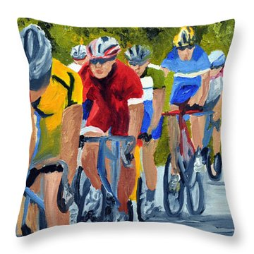 Race Warm Up Throw Pillow by Michael Lee