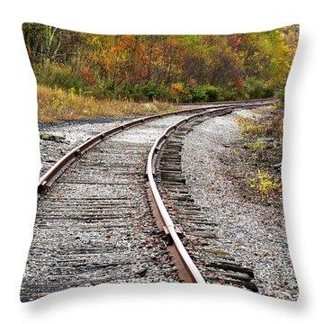 Railroad Fall Color Throw Pillow by Thomas R Fletcher