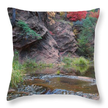 Rainbow Of The Season And River Over Rocks Throw Pillow by Heather Kirk