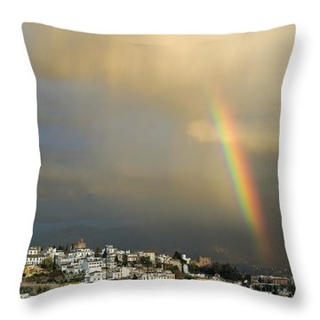 Rainbow Over Granada Yesterday Throw Pillow by Guido Montanes Castillo