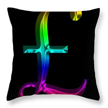 Rainbow Pound Sterling Throw Pillow by Andrew Fare