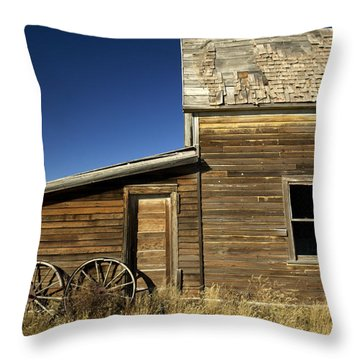 Ranchers House In Prairie Semi-ghost Throw Pillow by Pete Ryan