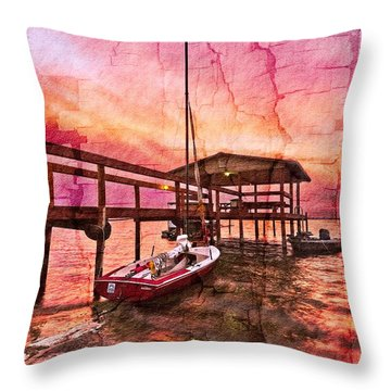 Ready To Sail Throw Pillow by Debra and Dave Vanderlaan