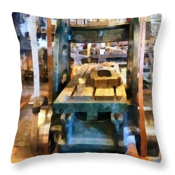 Reciprocating Flatbed Planer Throw Pillow by Susan Savad