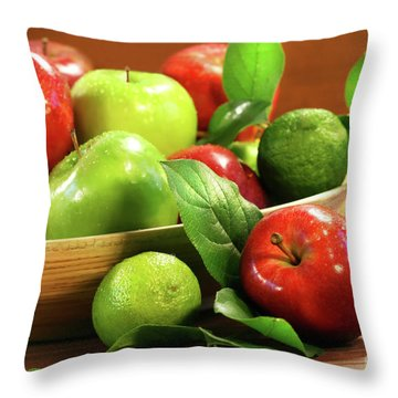 Red And Green Apples In A Bowl Throw Pillow by Sandra Cunningham