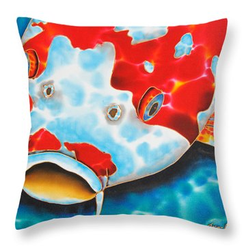 Red And White Koi     Throw Pillow by Daniel Jean-Baptiste