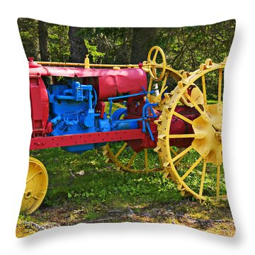 Red And Yellow Tractor Throw Pillow by Garry Gay