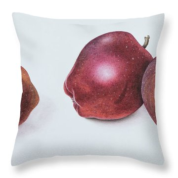 Red Apples Throw Pillow by Margaret Ann Eden
