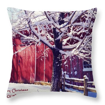 Red Barn In The Winter Connecticut Usa Throw Pillow by Sabine Jacobs