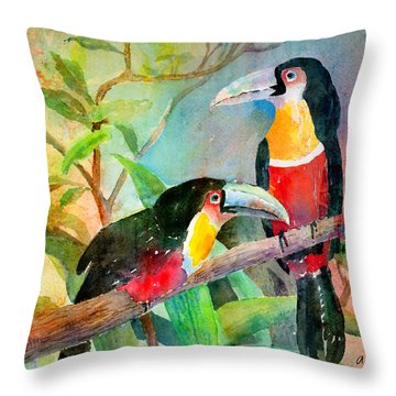 Red-breasted Toucans Throw Pillow by Arline Wagner
