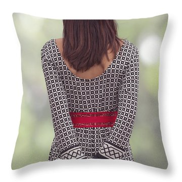 Red Cap Throw Pillow by Joana Kruse