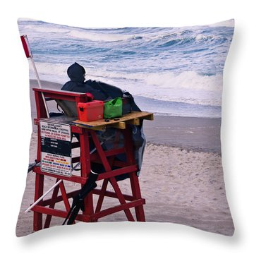 Red Flag Day Throw Pillow by Roger Wedegis