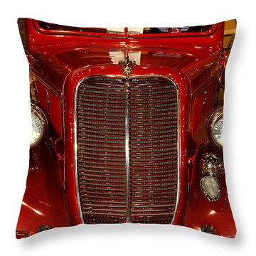 Red Ford Throw Pillow by Susanne Van Hulst