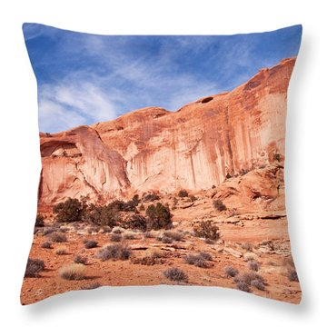 Red Rock And Blue Skies Throw Pillow by Bob and Nancy Kendrick