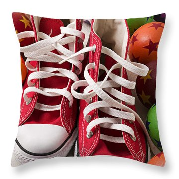 Red Tennis Shoes And Balls Throw Pillow by Garry Gay