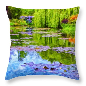 Reflections At Giverny Throw Pillow by Dominic Piperata