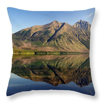 Reflections On Lake Mcdonald Throw Pillow by Marty Koch