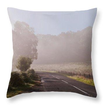 Refreshing Morning Fog In Trossachs. Scotland Throw Pillow by Jenny Rainbow