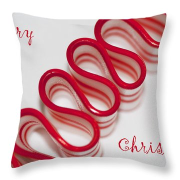 Ribbon Candy Peppermint Merry Christmas Throw Pillow by Kathy Clark