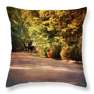 Ride At Timbers Farm Throw Pillow by Jai Johnson