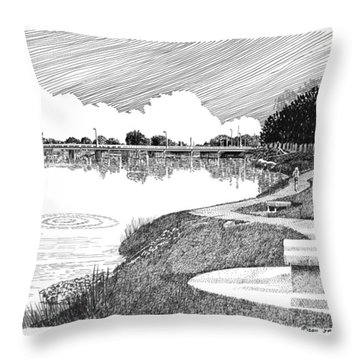 Riverwalk On The Pecos Throw Pillow by Jack Pumphrey