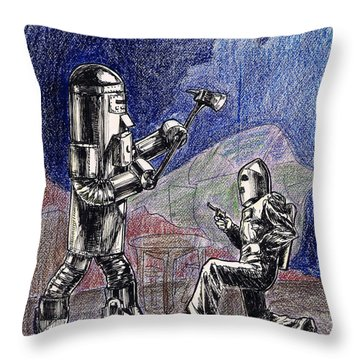 Rocket Man And Robot Throw Pillow by Mel Thompson