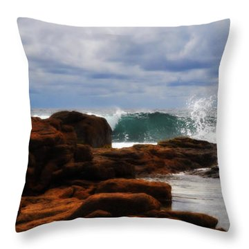 Rocks And Surf Throw Pillow by Phill Petrovic