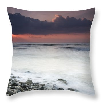 Rocky Beach At Sunrise Hawf Protected Throw Pillow by Sebastian Kennerknecht
