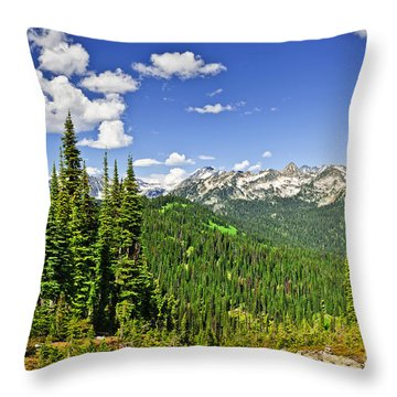 Rocky Mountain View From Mount Revelstoke Throw Pillow by Elena Elisseeva